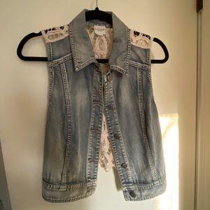 Jean Jacket Vest with lace back
